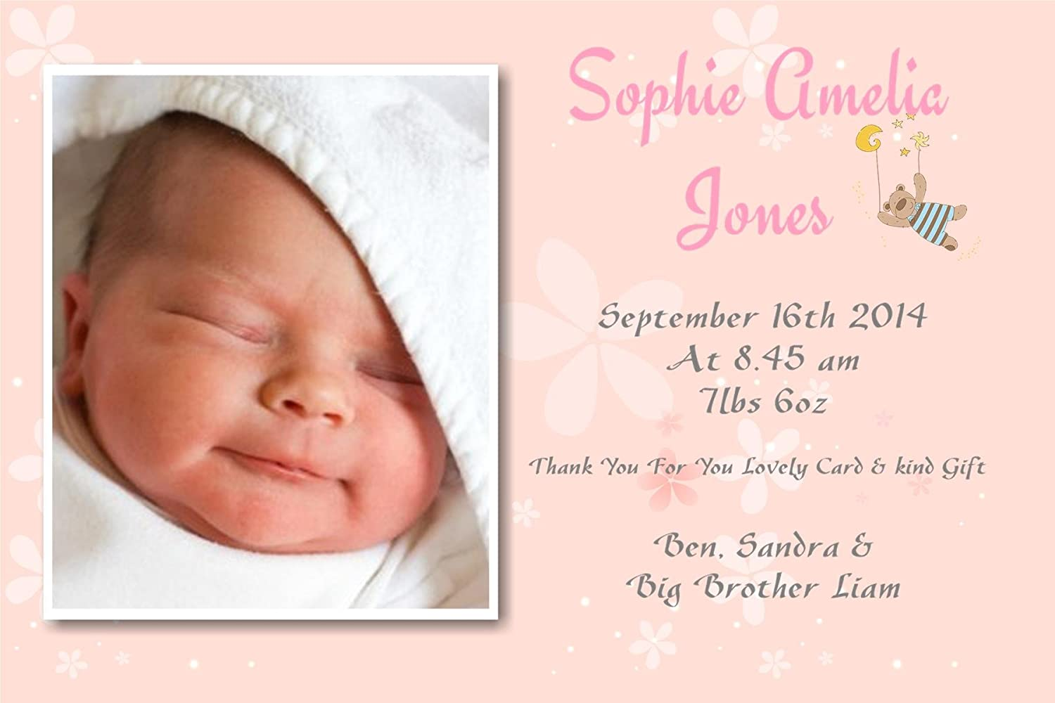 40 Personalised Baby Thank You Cards, Baby Announcement cards - Girl FREE P&P candydelights