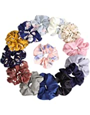 KECUCO 14 Colors Women's Chiffon Flower Hair Scrunchies Hair Bow Chiffon Ponytail Holder,Including 8 Colors Chiffon Flower Hair Scrunchies and 6 Solid Colors Chiffon Hair Ties