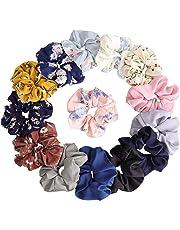 KECUCO 14 Colors Women's Chiffon Flower Hair Scrunchies Hair Bow Chiffon Ponytail Holder,Including 8 Colors Chiffon Flower Hair Scrunchies and 6 Solid Colors Chiffon Hair Ties