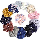 14Pcs Women's Chiffon Flower Hair Scrunchies Hair Bow Chiffon Ponytail Holder, including 8 Colors Chiffon Flower Hair Scrunchies and 6 Solid Colors Chiffon Hair Ties (Style B)