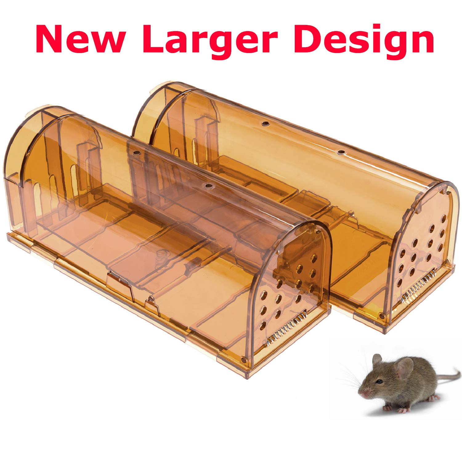 CaptSure Original Humane Mouse Traps, Easy to Set, Kids/Pets Safe, Reusable for Indoor/Outdoor use, for Small Rodent/Voles/Hamsters/Moles Catcher That Works. 2 Pack (Large) by CaptSure