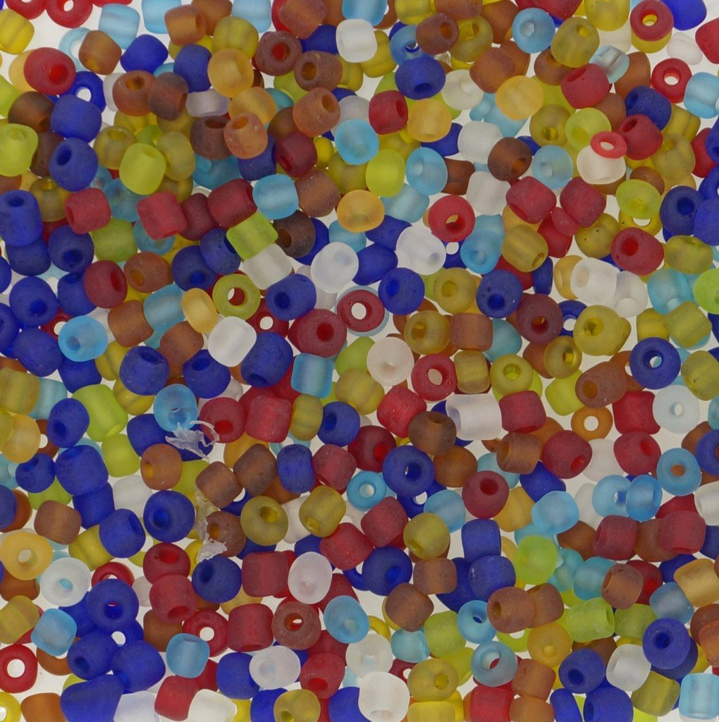 Frosted Color Glass Seed Beads, Round, Mixed Color, Size: 6/0 4mm, for Jewelry DIY Making, About 500pcs
