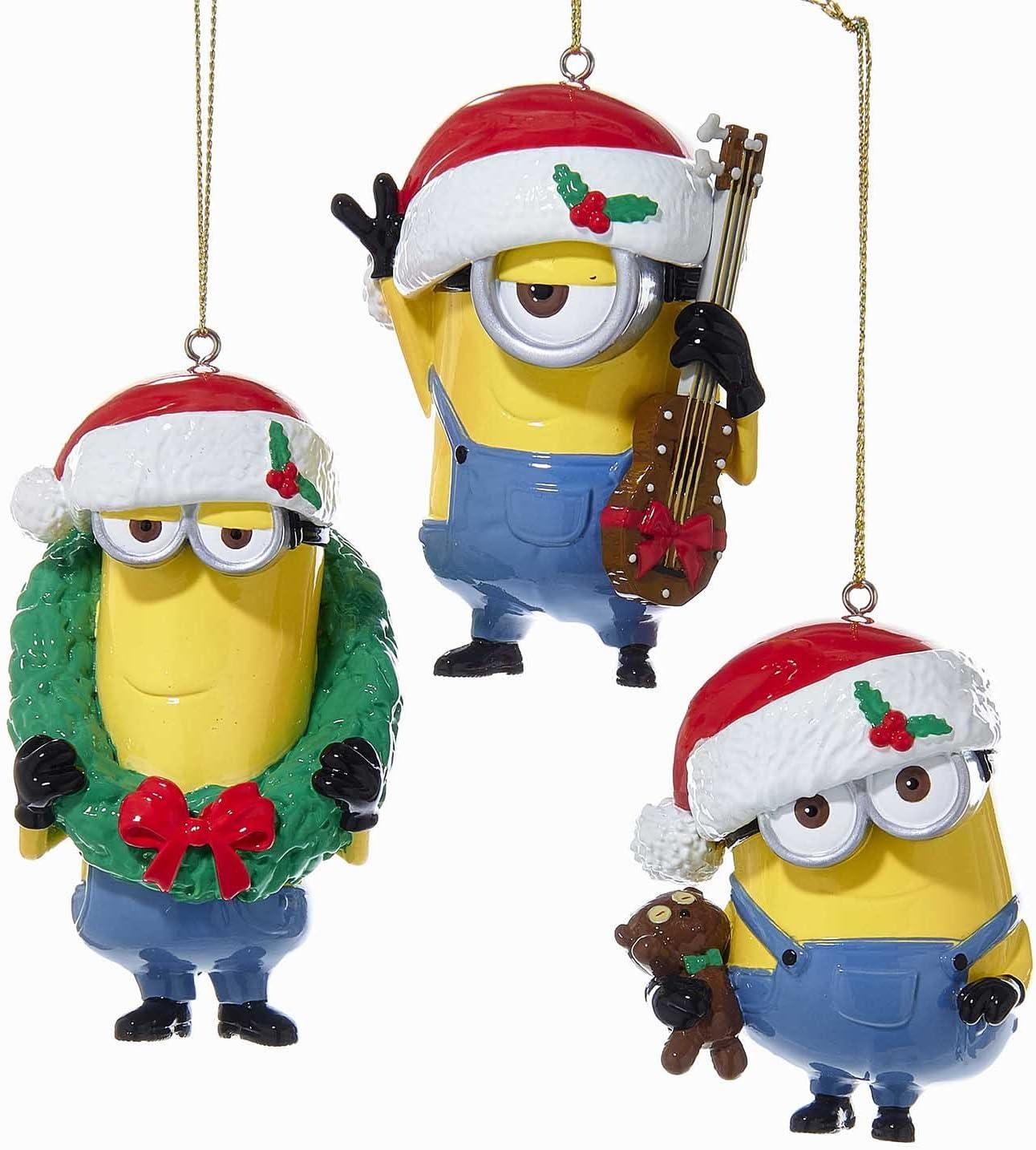 Kurt Adler 1 Set 3 Assorted Despicable Me Minions Bob  Stuart and Kevin Blow Mold Ornaments