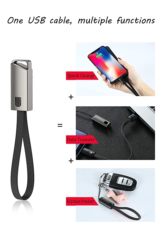 Amazon.com: ApexOne - Juego de 2 cables USB para llavero (1 ...