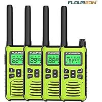 FLOUREON 4 Packs Walkie Talkies Two Way Radios 22 Channel 3000M (MAX 5000M Open Field) Long Range Handheld Talkies Talky (Light Green)