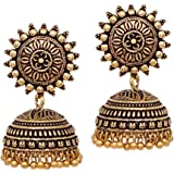 V L IMPEX Sun Flower Stud With Gold Plated Oxidized Jhumki Earrings For Women