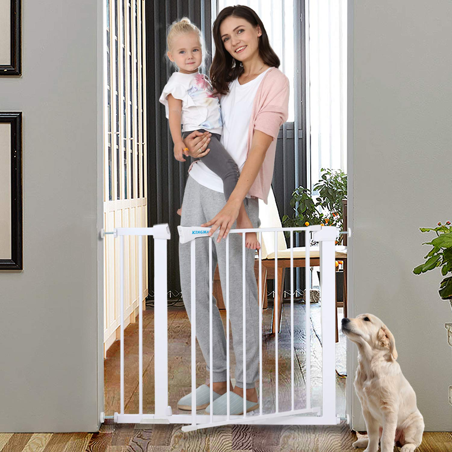 width 120-130 cm 2 Y-adapter Adjustable safety gate Berrin white-grey 75-175 cm 12 variations IB-Style without drilling stair /& door gate open like a door Best Value for Money