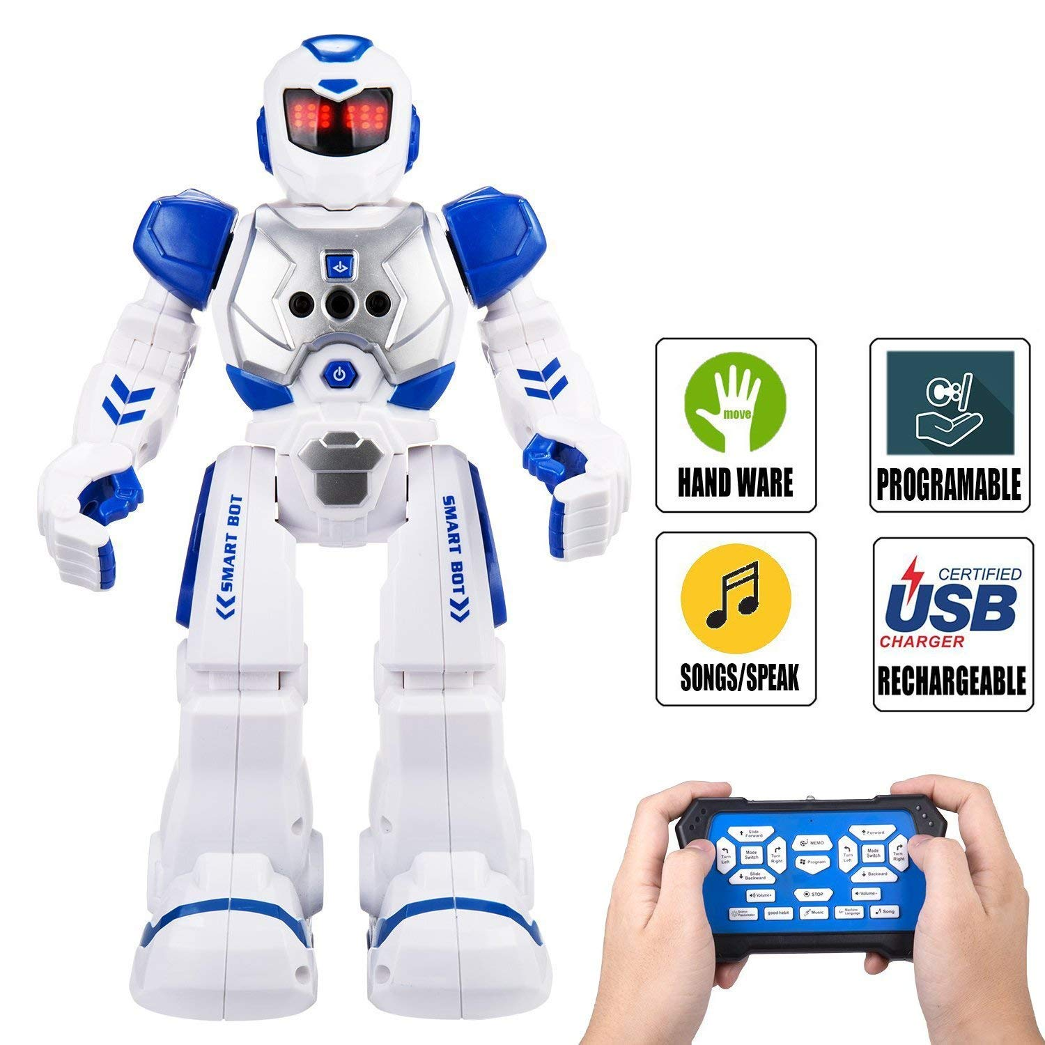 Elemusi Remote Wireless Control Robot for Kids Toys,Smart Robots with Singing,Dancing,Gesture Sensing Entertainment Robotics for Children (Blue) by Elemusi (Image #1)