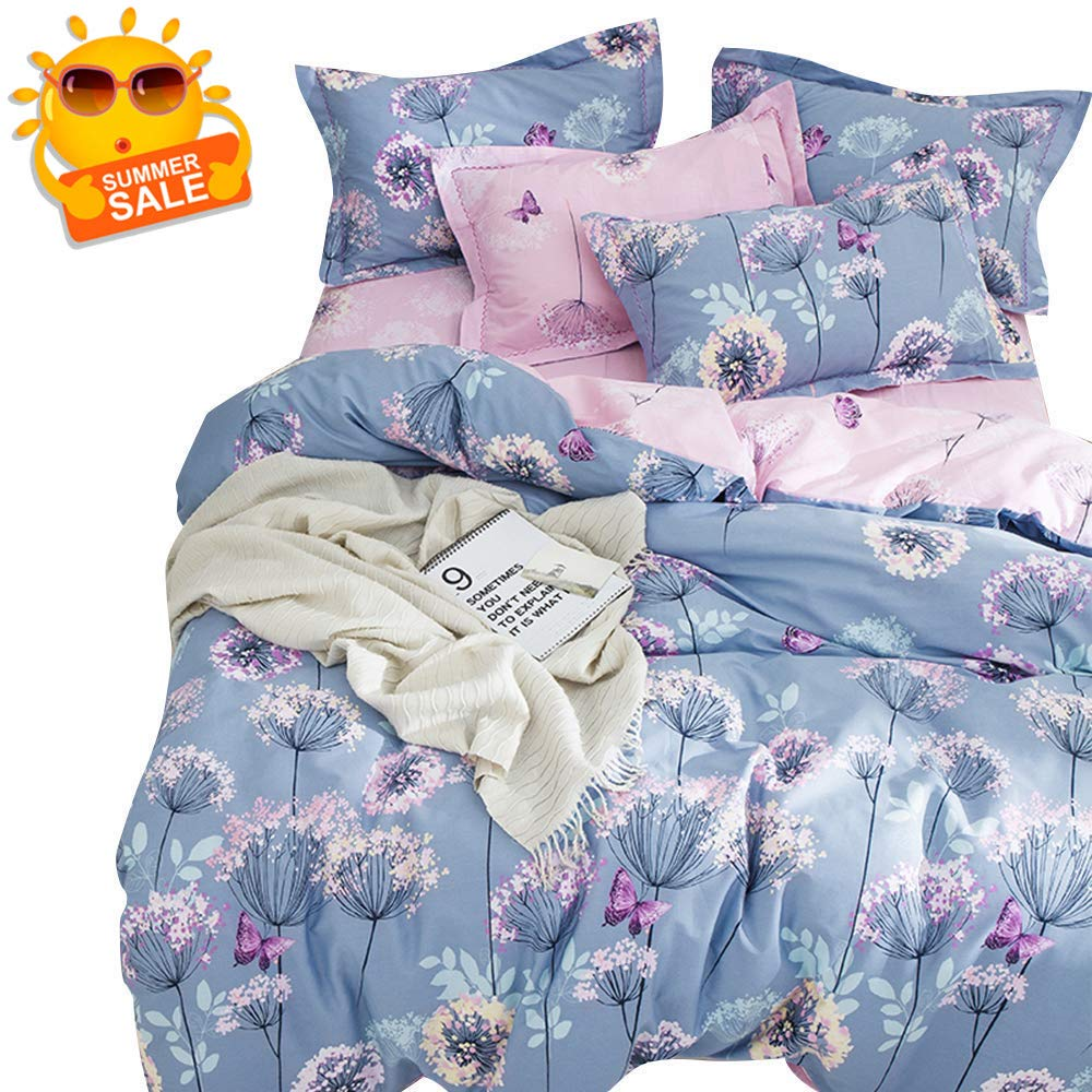 BuLuTu 3 Pieces Girls Duvet Cover Set Twin Kids Blue/Purple/Pink Cotton,Dandelion Butterfly Print Reversible Bedding Sets Twin Comforter Cover 2 Pillow Shams,Super Soft,No Comforter by BuLuTu
