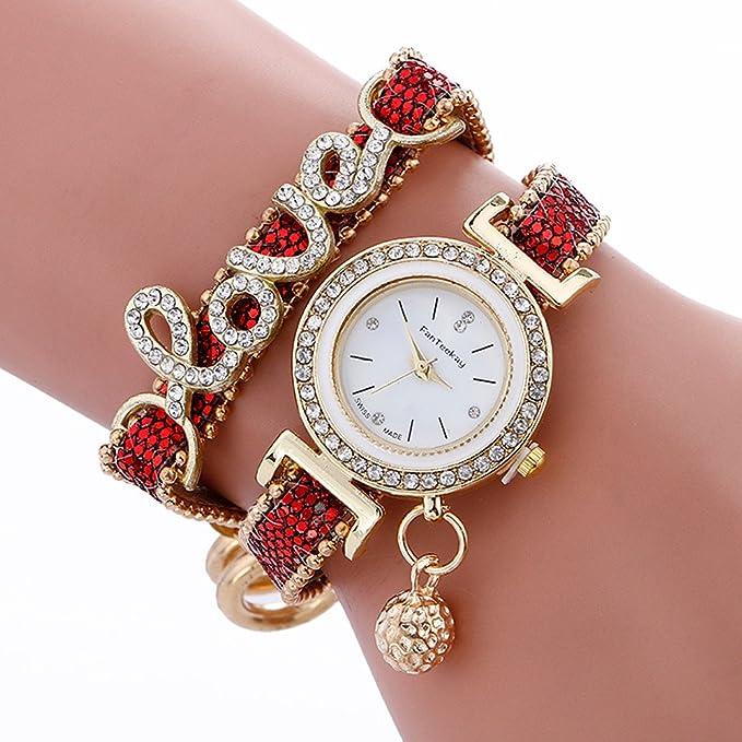 Reloj Pulsera,Naturazy Hombre Moda Mujer Rhinestone Amor Reloj Pulsera Piel De Serpiente Correa De Textura Reloj De Pulsera De Cuarzo con BateríA ...