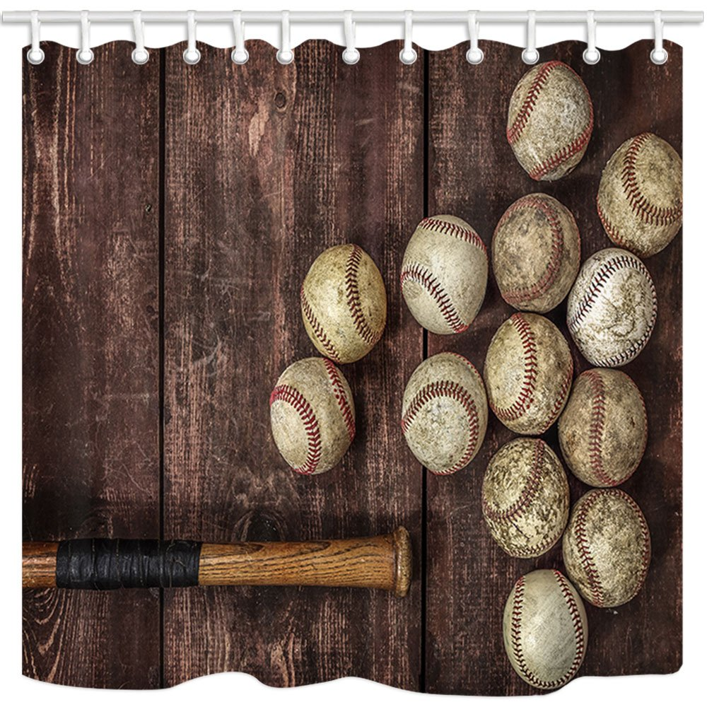 NYMB Baseball on the Brown Background 69X70 inches Shower Curtains Mildew Resistant Polyester Fabric Bathroom Fantastic Decorations Bath Curtain 69X70 inches,