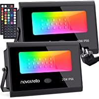 Novostella RGB spot 20W set van 2, LED tuinspot met 44 knoppen afstandsbediening 20 kleuren 6 standen, RGB schijnwerper…