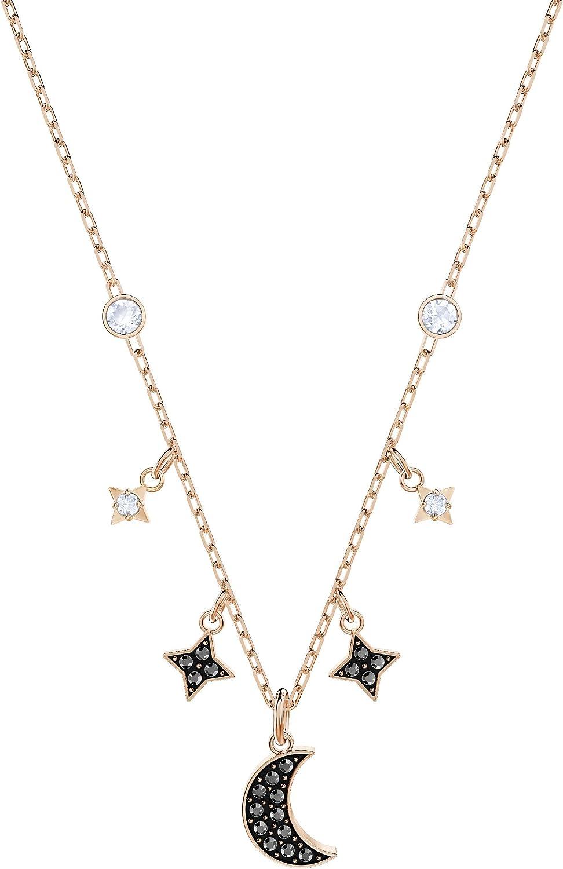 Swarovski Collar Symbolic Moon, negro, Baño en tono Oro Rosa