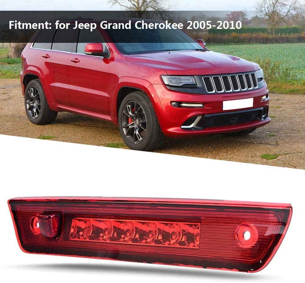 Tercer freno trasero cromo y rojo L/ámpara de luz LED trasera de tercer tercer freno para Jeep Grand Cherokee 2005-2010