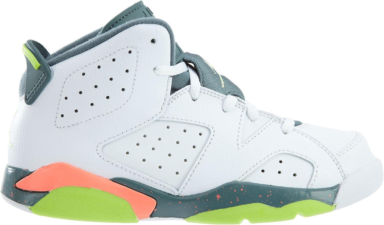 Nike Jordan Kids Jordan 6 Retro BP White//Ghst Green//Hst//Brght Mng Basketball Shoe