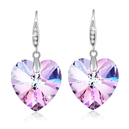 0951b421a50624 Cuore di cristallo Swarovski orecchini per donne regalo di pietra dei nati  gioielli rodio placcato viola: Amazon.it: Gioielli