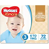 Huggies Ultimate Nappies, Size 3 (6-11kg), 72 Nappies, Jumbo Pack - Packaging May Vary
