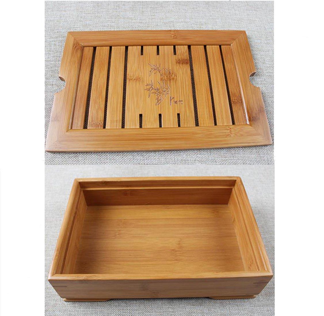 Hoobar Reservoir Type Bamboo Tea Tray - Chinese Kungfu Tea Table Serving Tray Box for Kungfu Tea Set by JKCOM (Image #5)