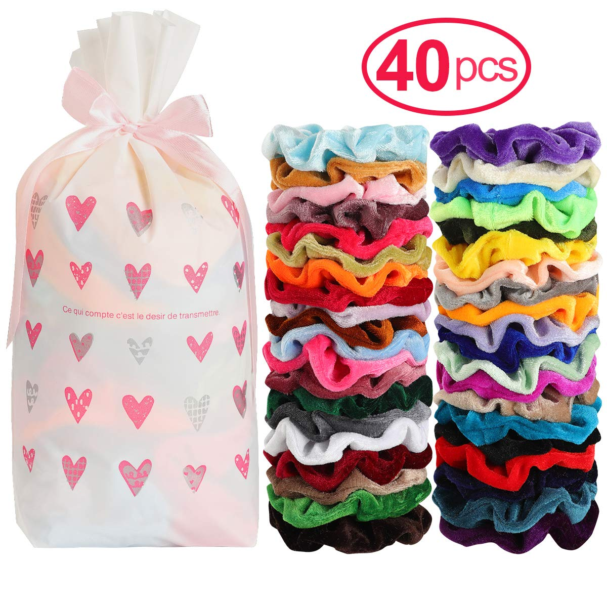 Mandydov 40pcs Hair Scrunchies Velvet Elastic Hair Bands Scrunchy Hair Ties Ropes 40 Pack Scrunchies for Women or Girls Hair Accessories - 40 Assorted Colors Scrunchies by Mandydov (Image #2)