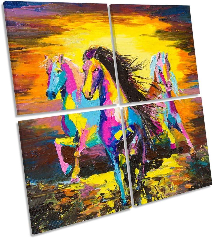 Canvas Geeks Cuadro de Caballos con diseño de Atardecer en la Pared, 120cm Wide x 120cm High