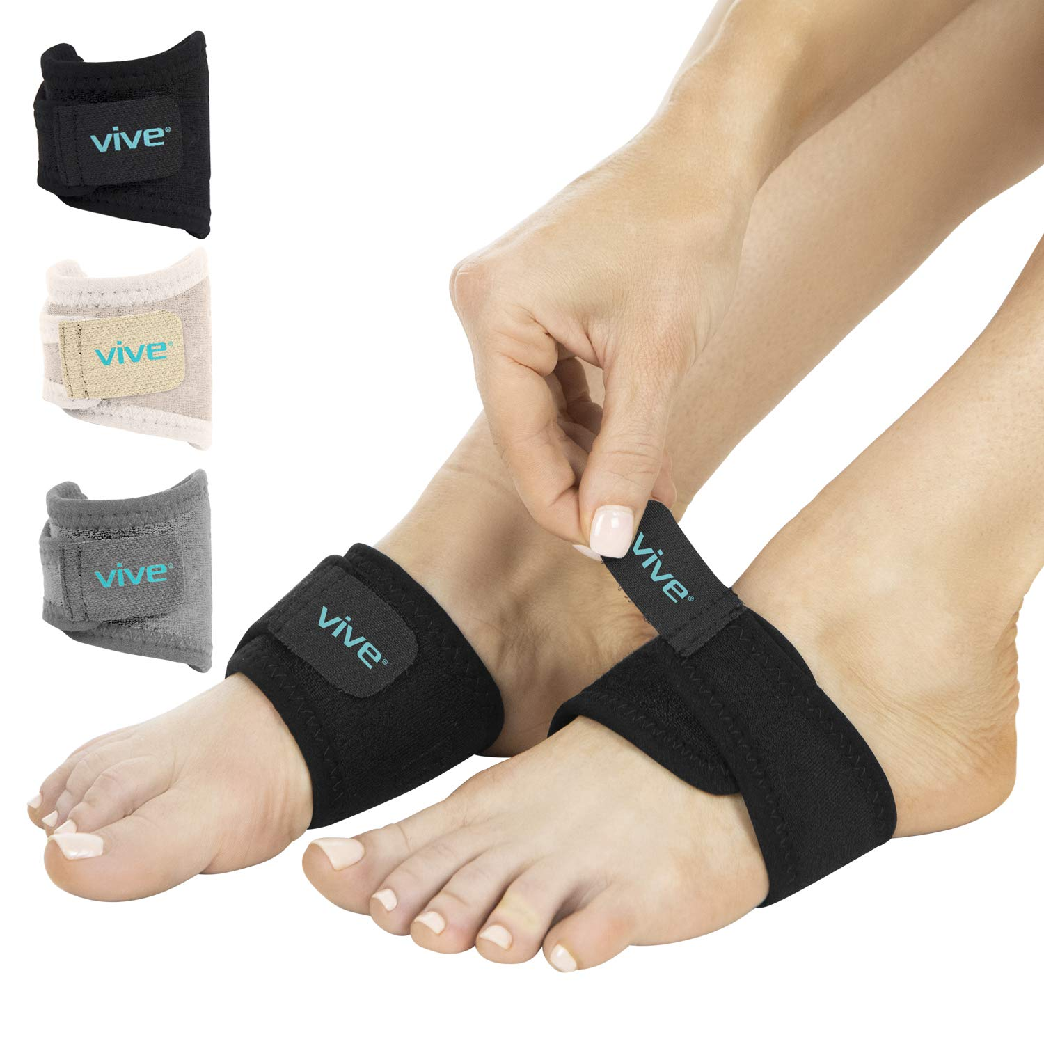 2346ef402f Amazon.com: Vive Arch Support Brace (Pair) - Plantar Fasciitis Gel Strap  for Men, Woman - Orthotic Compression Support Wrap Aids Foot Pain, High  Arches, ...