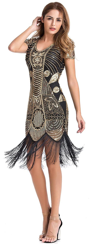 UK Plus Size Gatsby Flapper 1920s Beaded Vintage Fringe Sequin Women Party Dress