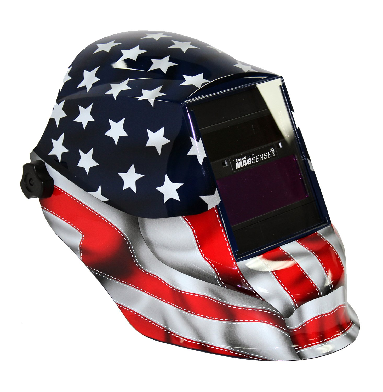 Sellstrom 41200GL-611 Old Glory Graphic Trident Welding Helmet with Impulse MagSense Magnetic Sensing Variable Shade 9-13 Auto-Darkening Filter by Sellstrom (Image #1)
