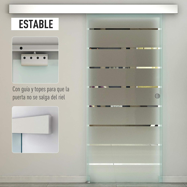 HOMCOM Puerta Corredera Cristal Puerta Corrediza Deslizante de ...
