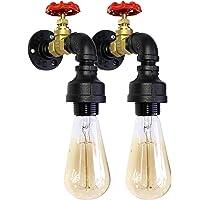 """Kit 2 Lámpara de Pared Vintage Retro Industrial, Modelo """"Ragnar"""", Para Muro, Con Base, Tubo, Fabricada En Acero Metal, Color Negro Mate, Decoración Diseño Artesanal"""