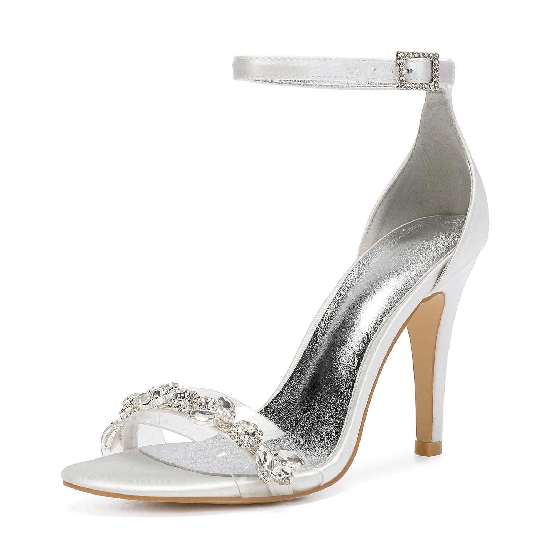 Ivoire LHWAN satin robe de soirée sandales une sangle chaîne de cristal dame fête de la mariée chaussures de mariage mariée pompes