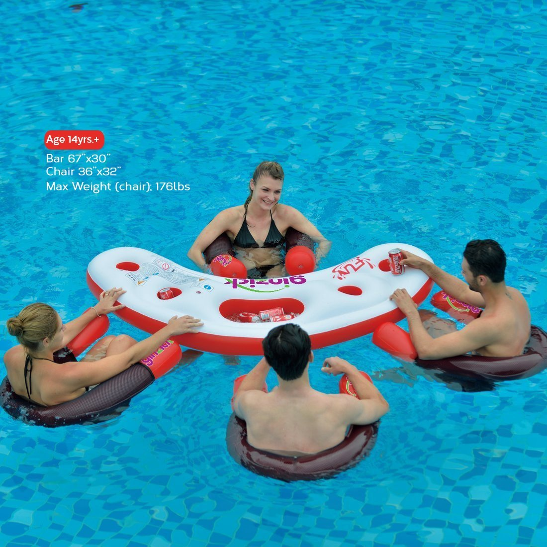 Amazon.com: Bar flotante para piscina, inflable de Ginzick ...