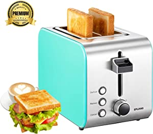 "Toaster Prime Rated, EPLIANS 1.5"" 2 Slice Wide Slot Toaster, 7 Adjustable Browning Settings with Removable Crumb Tray, Extra Wide Slot Compact Stainless Steel Toasters for Bread Waffles"