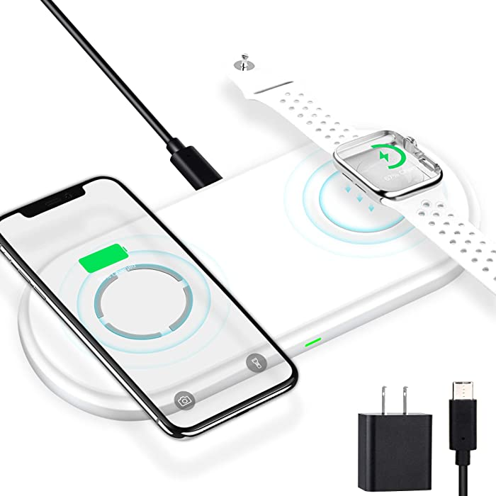 Wireless Charger Apple MFi Certified for Apple Watch iPhone Airpods 10W Fast Wireless Charging Stand iWatch Charger Pad Qi Wireless Headphone Wireless Charger Station iPhone Samsung Adapter Included