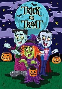 "Briarwood Lane Trick or Treaters Halloween Garden Flag Frankenstein Dracula 12.5"" x 18"""