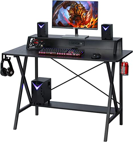 Gaming Desk, 47 Gaming Table, E-Sports Computer Desk, PC Gaming Workstation Desk with Built-in Hutch, Power Strip with USB Cup Holder Headphone Hook Home Office Desk Gamer Desk Writing Table