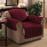1 Seater 23 x 70.5 Burgundy / Wine Quilted Sofa / Arm Chair Protector Water Resistant Finish by Ashley Mills