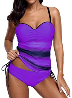 051a8892b4 Dearlove Women s Strappy Push up Printed Tankini Swimsuits with Brief S-XXXL