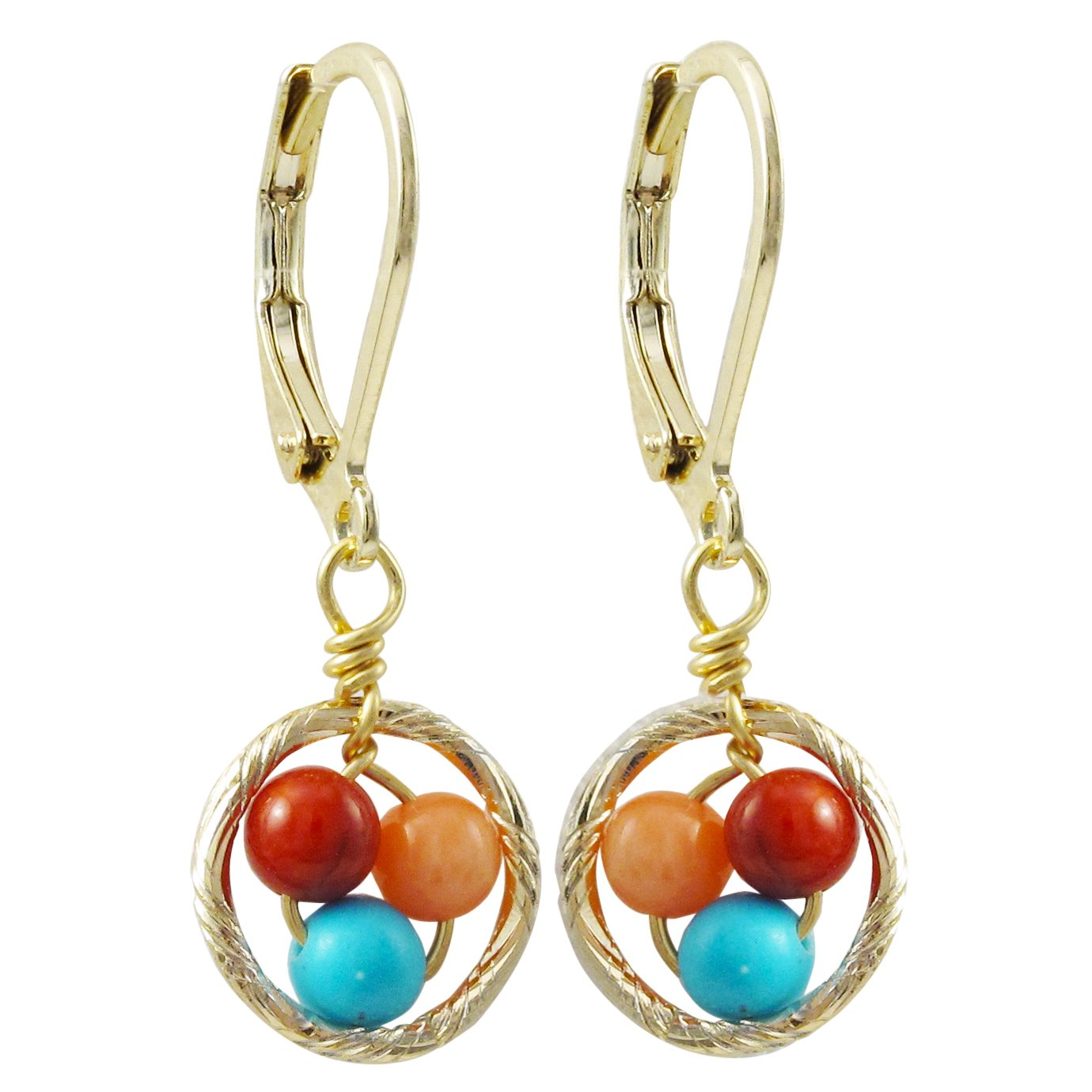 Blue and Peach Beads Open Circle Girls Dangle Earrings Ivy and Max Gold Finish Red