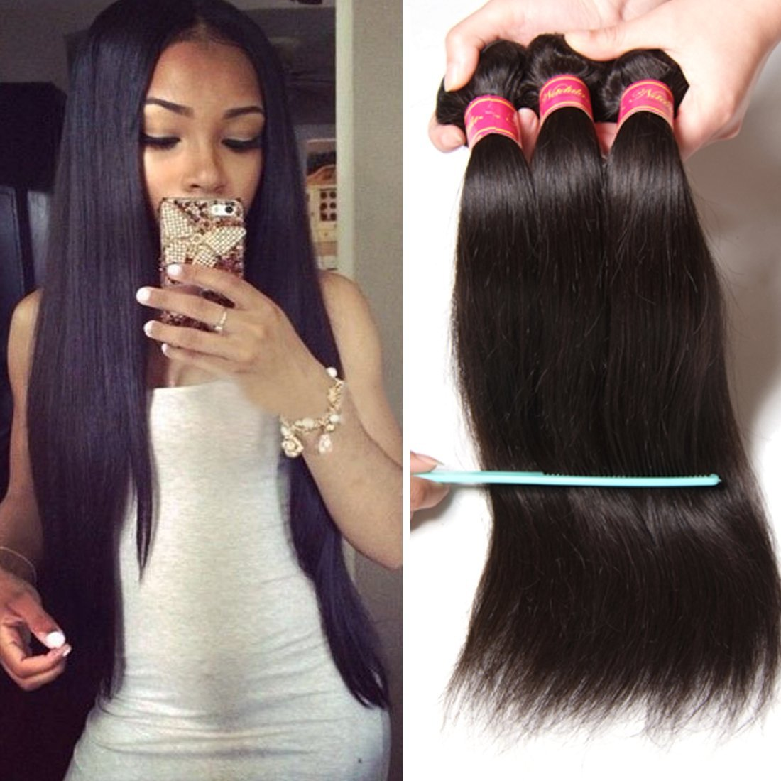Amazon Nadula 8a Brazilian Straight Hair Weaves 3pcslot