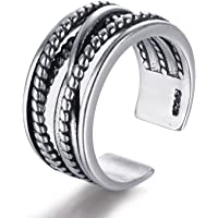 Candyfancy 925 Sterling Silver Twist Ring Oxidized Ring Open Adjustable Mid Knuckle Ring Finger Band Women Men Couples