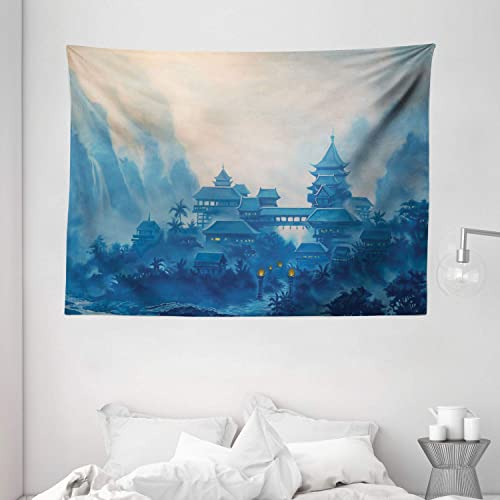 Ambesonne Asian Tapestry, Chinese Building Paint Mist with Lanterns at Night Oriental Image Oriental, Wide Wall Hanging for Bedroom Living Room Dorm, 80 X 60 , Blue