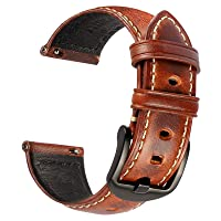 Watch Band Compatible With Samsung Watch, Huawei Watch, Fossil Q Series etc. - Quick Release Strap 18mm 20mm 22mm - Men's Retro Leather Watch Strap Bands