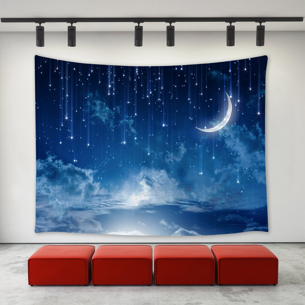 Starry night moon stars tapestry wall hanging night evening scenery moon and falling stars sky clouds tapestry home decoration wall decor art tapestries