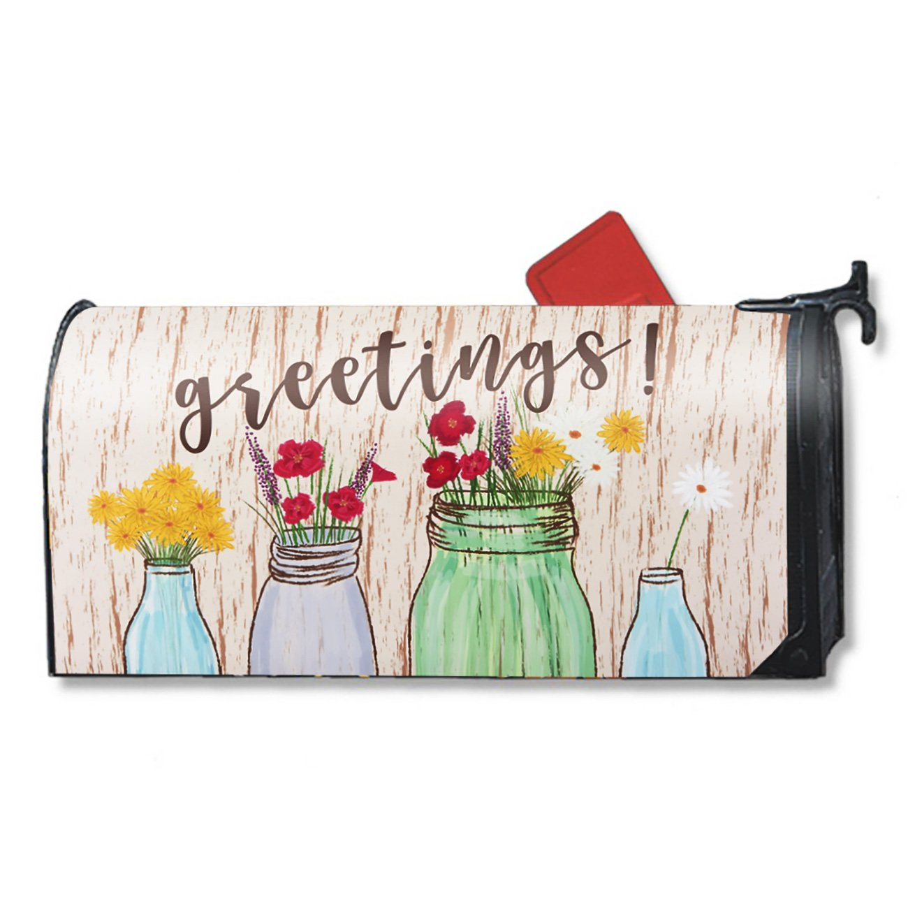 Juvale Magnetic Mailbox Cover - Greetings Mailbox Wrap with Decorative Flowers Illustration, Includes Adhesive Number, Standard Sized, 17.25 x 20.75 inches