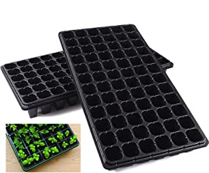 10 Pack Seed Starter Kit, 72 Cell Seedling Trays Gardening Germination Plastic Tray Nursery Pots Mini Propagator Plant Grow Kit Plug Tray Starting Trays for Seedling Germination