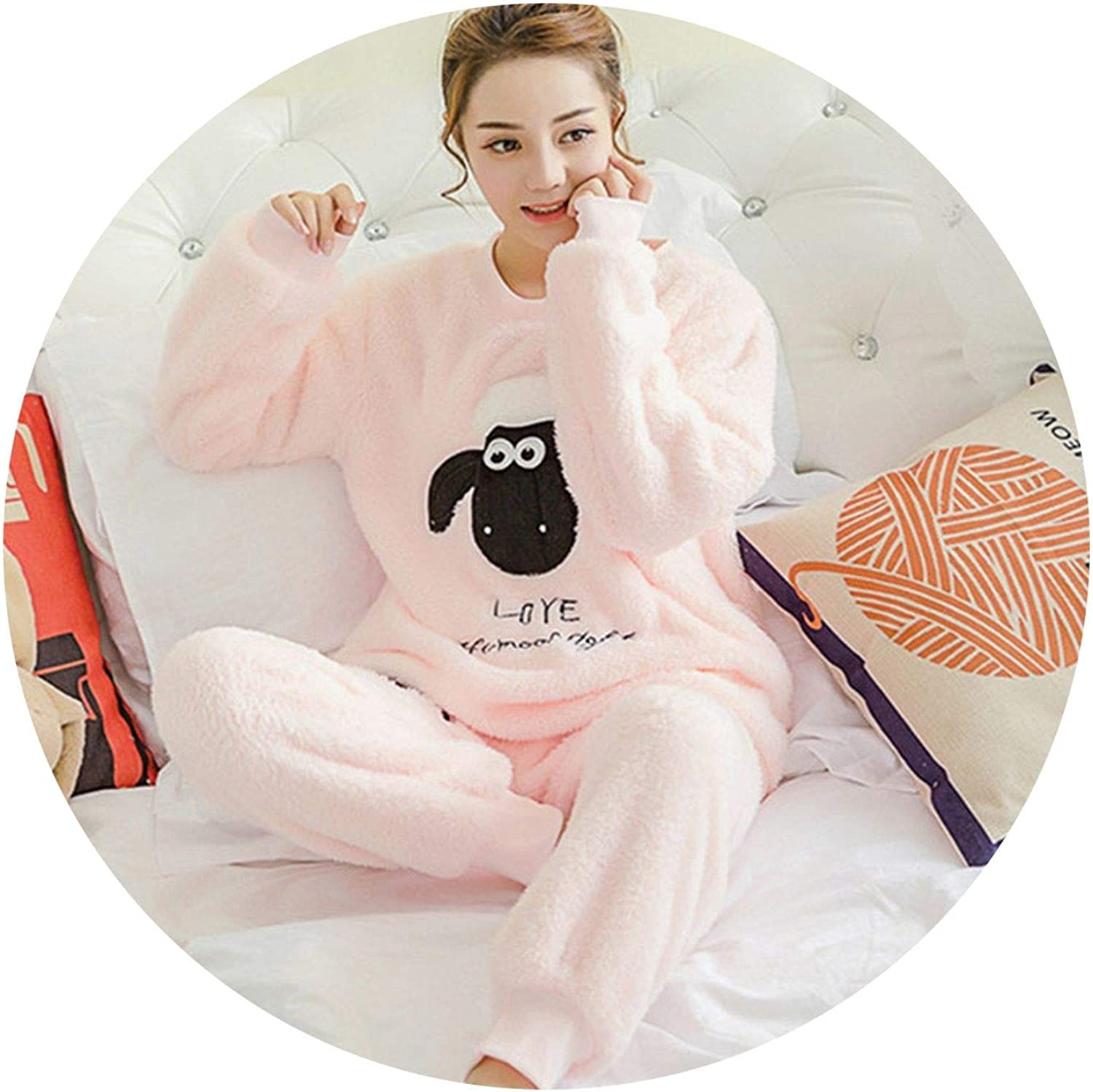 pursuit-of-self-Sleepwear Dress Women Pajama Sets Flannel Long Sleeved Pant Suit