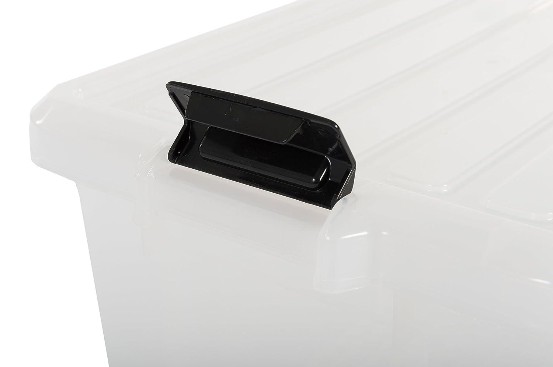 di plastica SK-210 trasparente 46 x 29,7 x 25,7 cm set di tre scatole di storage con chiusura a scatto 21 L Iris Ohyama Power Box