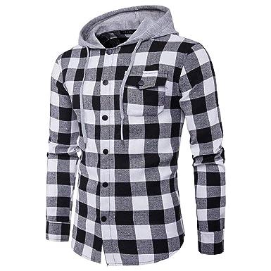 Hommes Chemise Veste Sweatshirt Sweat à Capuche Manteau Treillis Carré Bouton  Sport b03bc7f5da0