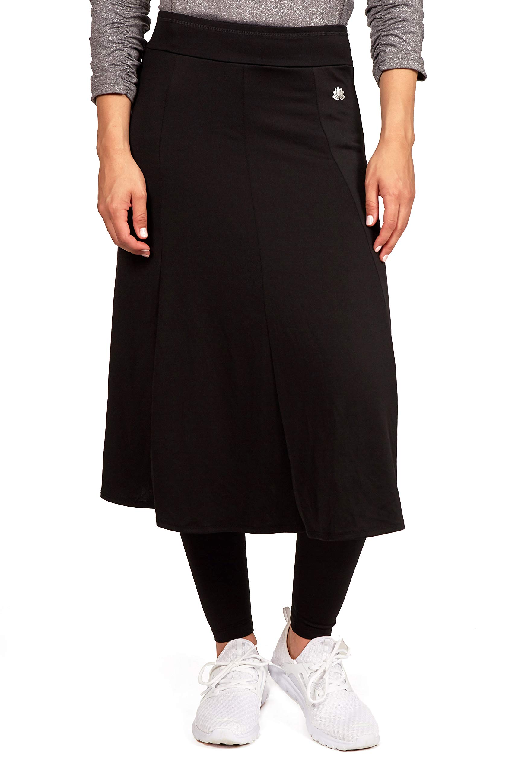 Snoga Full-Coverage Long Twirly Skirt with Attached Full Length Leggings - Black, Small by Snoga Athletics