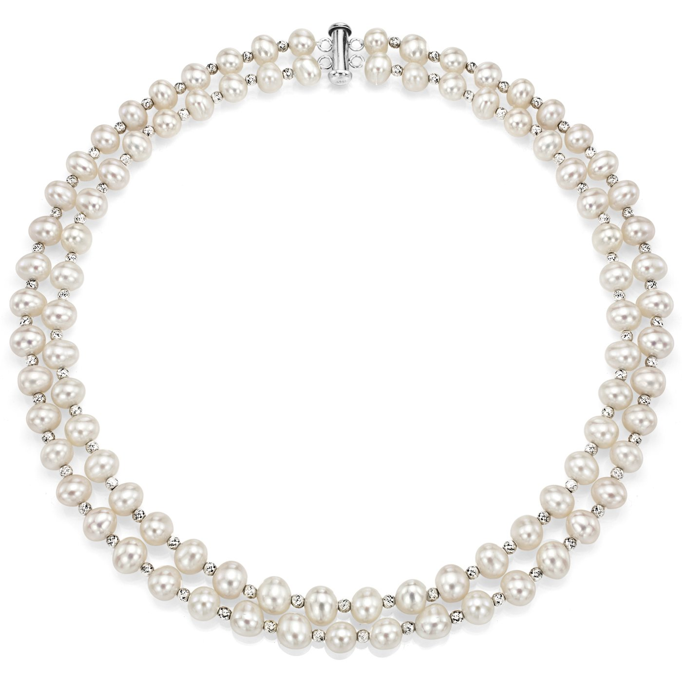 Sterling Silver 7-7.5mm White Freshwater Cultured Pearl 2-rows Necklace with Sparkling Beads, 17''